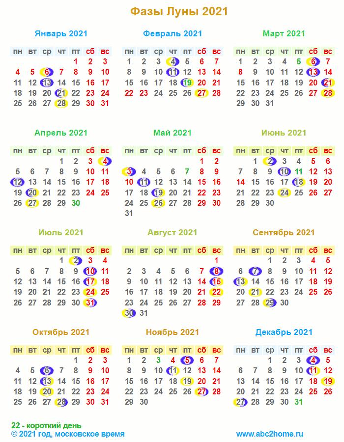 21608 Лунный календарь на 2021 год. Фазы Луны в 2021 году. Полнолуния и новолуния в 2021 году